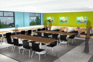 A rendering of the more user-friendly cafeteria BACI is creating.