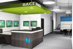 A rendering of the new BACI reception area on the main floor.